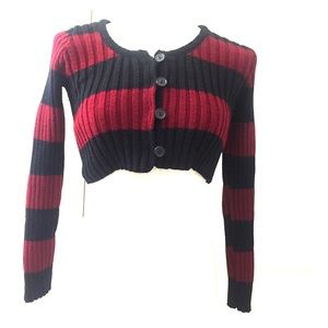 Black &red striped Betsey Johnson cropped sweater